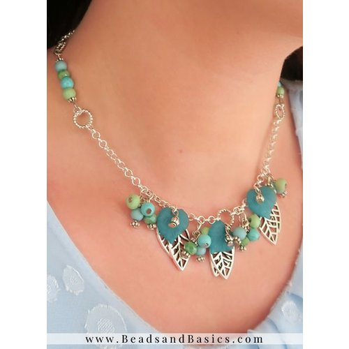 Leaf Charm Necklace With Beads - Green Blue