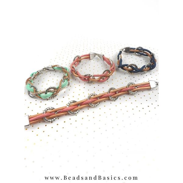 Bracelet From Leather With Charms - Pink With Brown