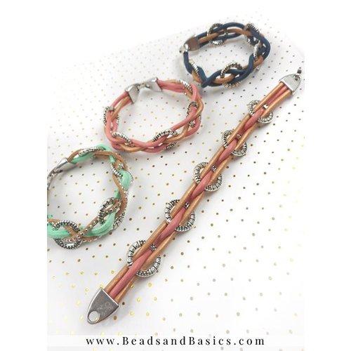 Armband Van Leer Met Bedels - Roze Met Bruin