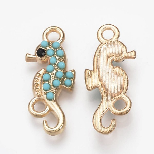 Seahorse Connector Light Gold Turquoise 24x10mm, 3 pieces