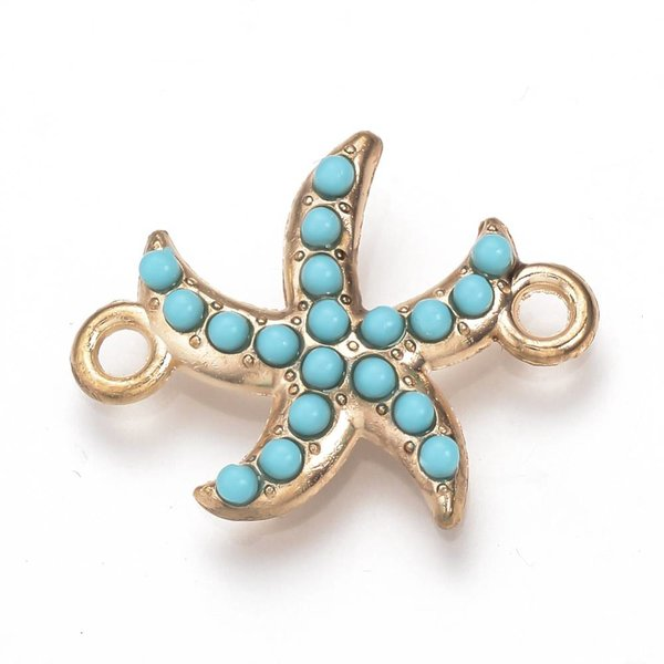 Starfish Link Light Gold Turquoise 24x19mm, 3 pieces