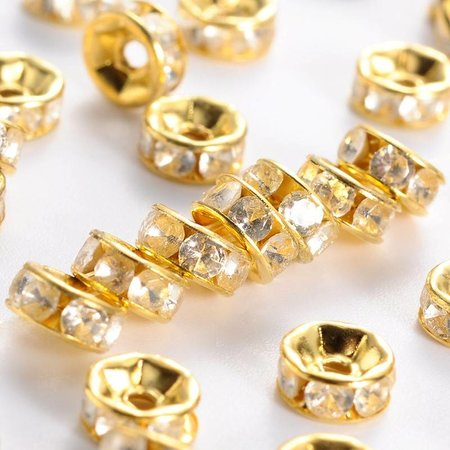 Strass Beads Gold Rondelle 6mm, 20 pieces