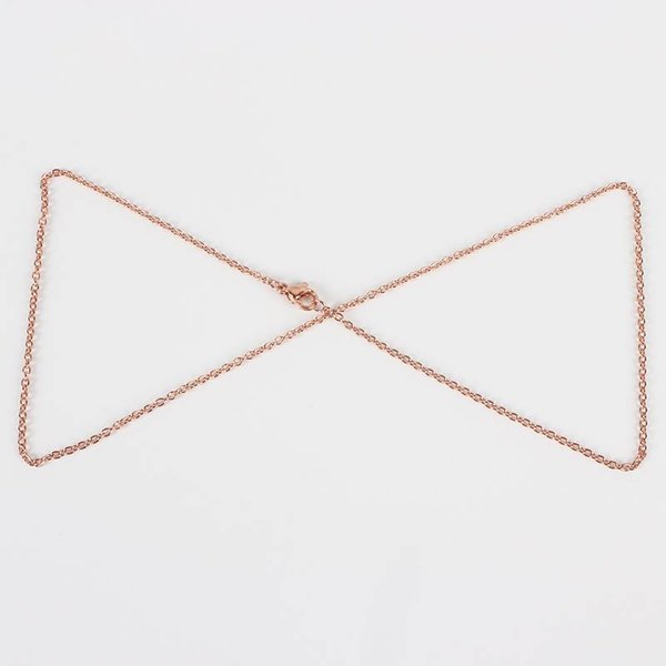 Stainless Steel Necklace 45cm Rose Gold 2mm
