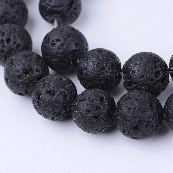 Natural Lavakralen Zwart 6mm, streng van 63 stuks