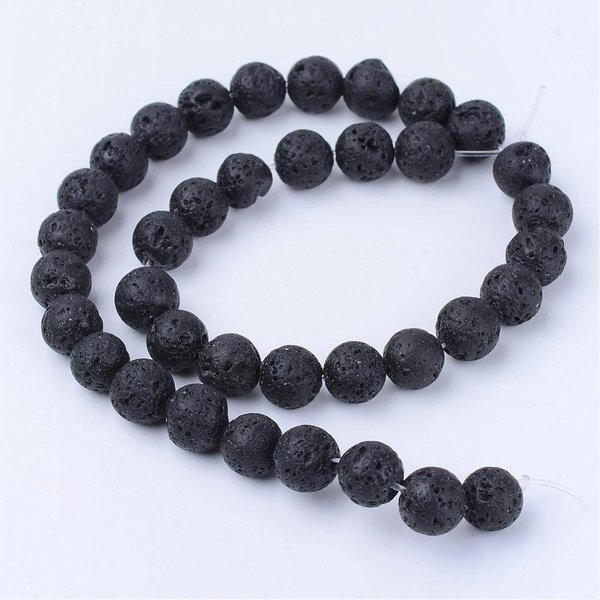 Natural Lavabeads Black 6mm, strand of 63 pieces