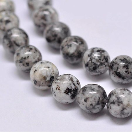 62 pieces Sesame Jasper Beads Gray 6mm