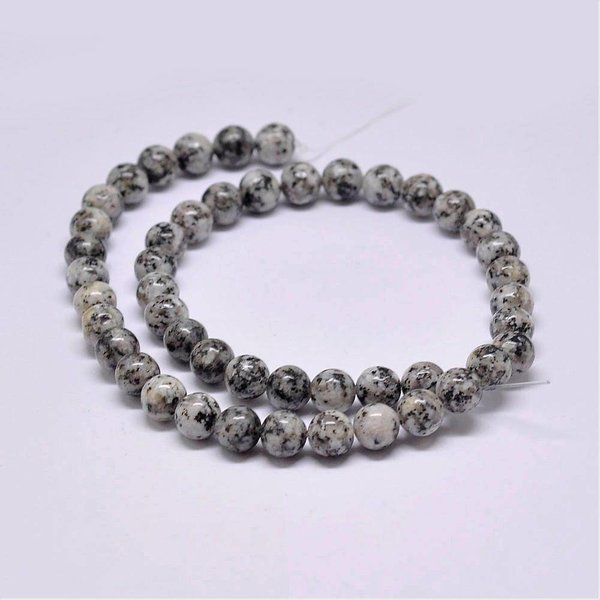 Natural Sesame Jasper Beads Gray 6mm, strand of 62 pieces