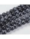 Sneeuwvlok Obsidiaan Kralen 6mm, streng 31 stuks