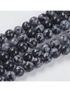 Snowflake Obsidian Beads 6mm, strand 27 pieces
