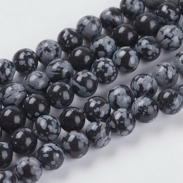 Snowflake Obsidian Beads 6mm, strand 31 pieces