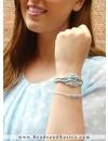 Vissengraatvlecht Armbandje Van  Satijnkoord - Blauw Zilver