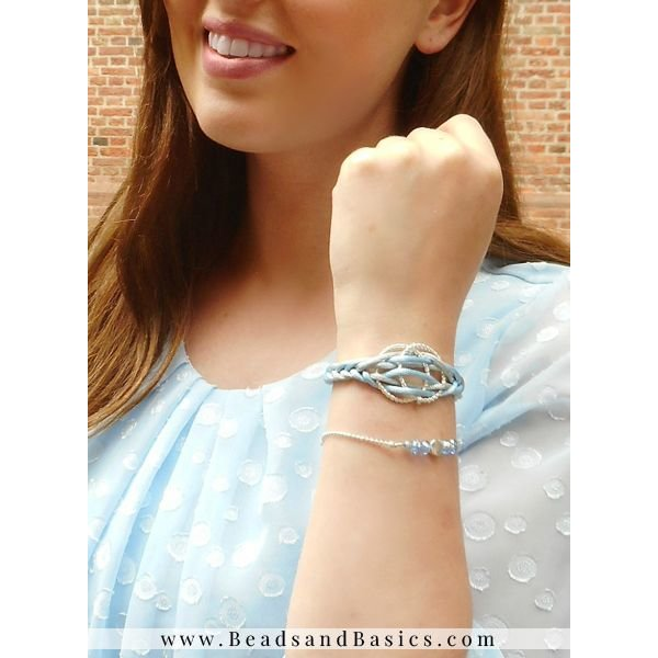 Fishtailbraid Bracelet With Satin Cord - Grey And Blue