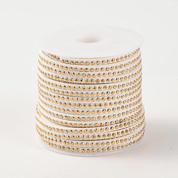 Faux Suede met Gouden Studs Wit 3mm, 1 meter