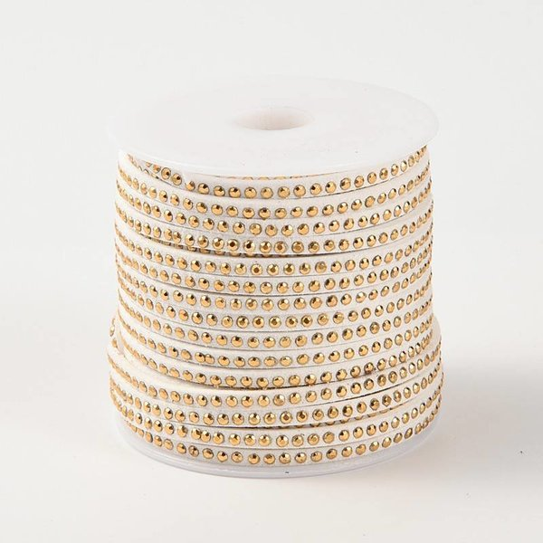 Faux Suede with Golden Studs White 3mm, 1 meter