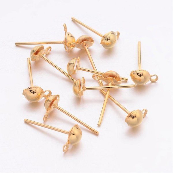 Studs Earring with Eyelet Gold 13mm, 5 pair