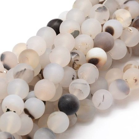 Frosted Agate Beads 6mm, strand 65 pieces
