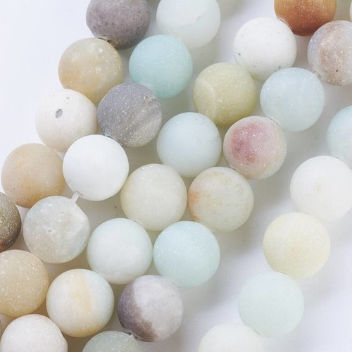 Frosted Amazonite Beads 6mm, strand 63 pieces