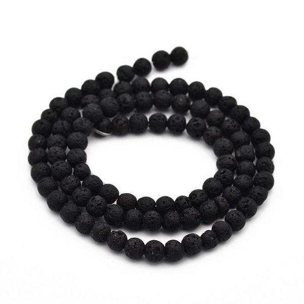 Natural Lava Beads Black 4mm, strand 94 pieces