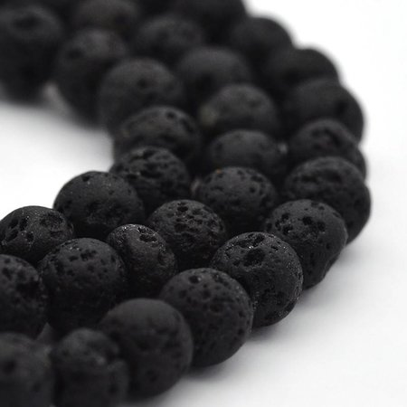 Lava Beads Black 4mm, strand 94 pieces