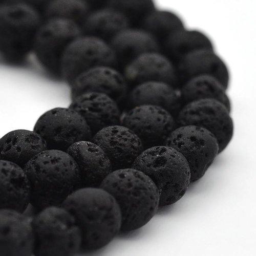 Lava Beads Black 4mm, strand 84 pieces