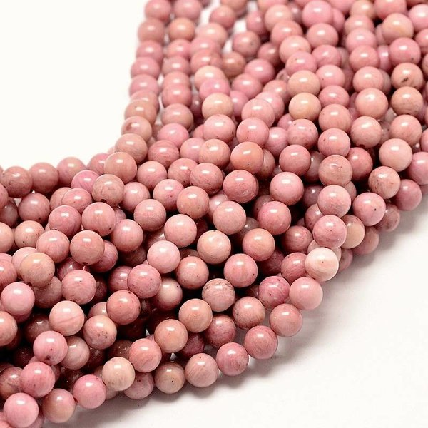Natural Rhodonnite Beads 6mm, strand 63 pieces