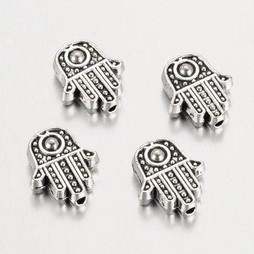 10 pieces Hamsa Bead Silver 12x10mm