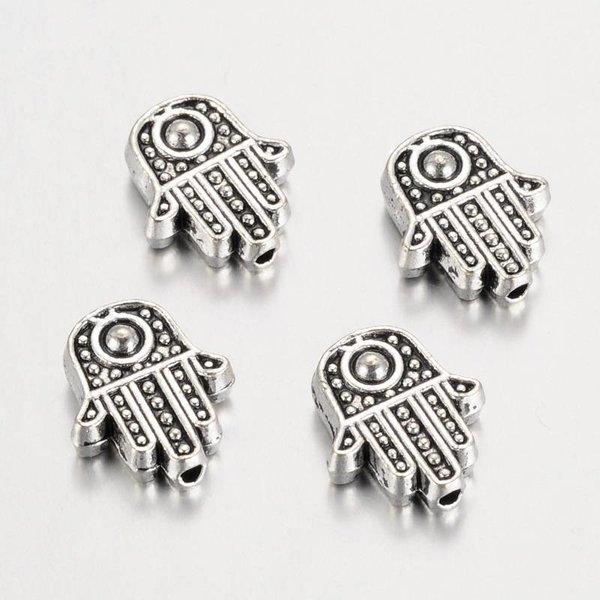 Hamsa Hand Fatima Bead Silver 12x10mm, 10 pieces