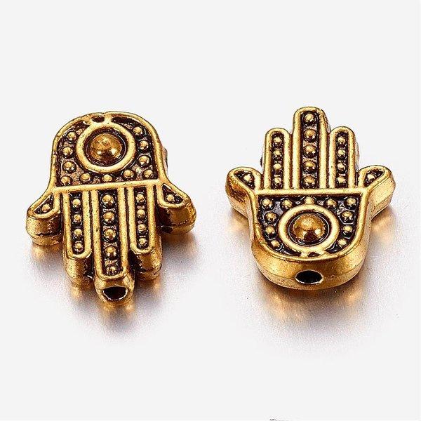Hamsa Hand Fatima Bead Gold 12x10mm, 10 pieces