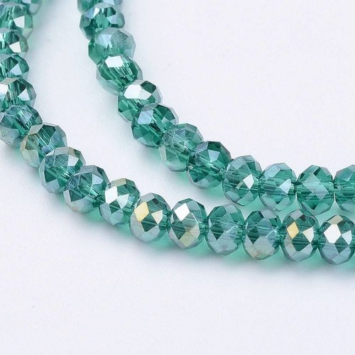 100 pieces Faceted Beads Turquoise Green 3x2mm
