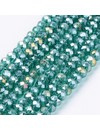 Faceted Glassbeads Turquoise Green Shine 3x2mm, 80 pieces