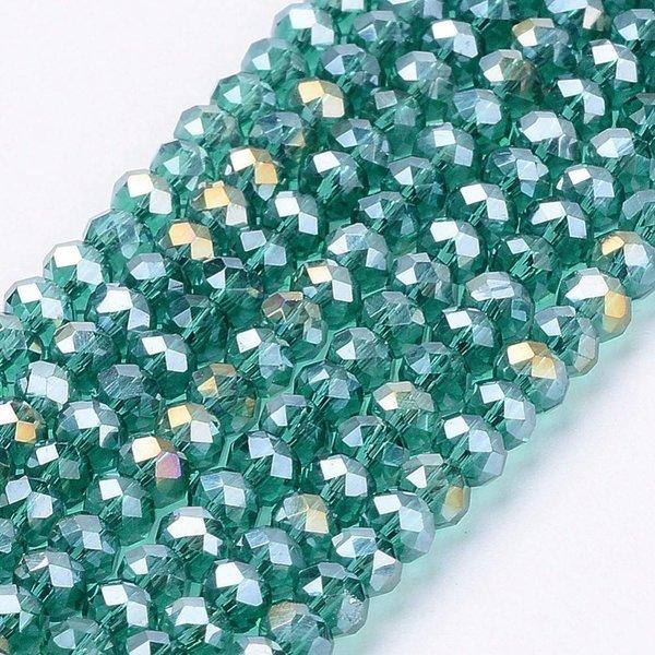 Facet Glaskralen Groen Shine 3x2mm, 80 stuks
