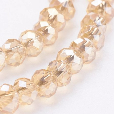 80 pieces Faceted Beads Champagne 3x2mm
