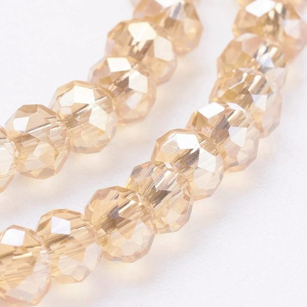 Faceted Glassbeads Champagne Shine 3x2mm, 100 pieces