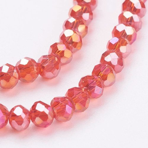 80 pieces Faceted Beads Red 3x2mm
