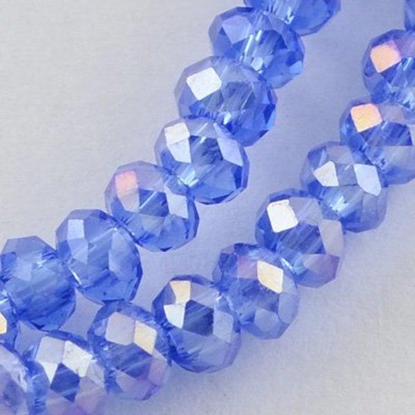 Facet Glaskralen Blauw Shine 3x2mm, 100 stuks