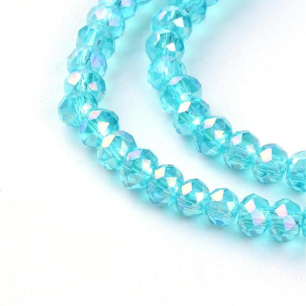 Faceted Glassbeads Aqua Blue Shine 3x2mm, 100 pieces