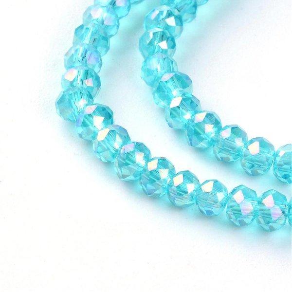 Faceted Glassbeads Aqua Blue Shine 3x2mm, 80 pieces