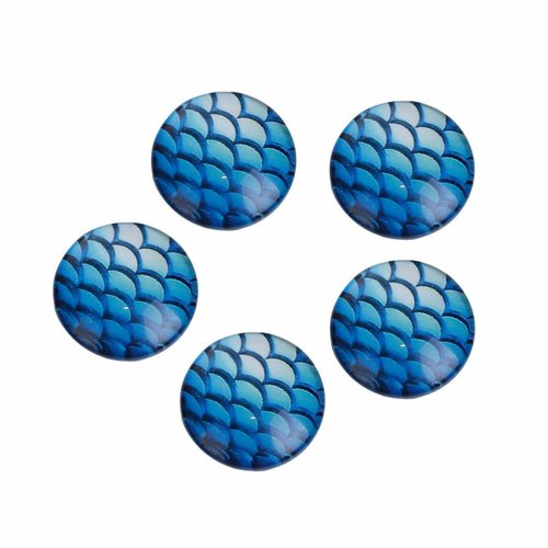 5 pieces Mermaid Cabochon Blue 12mm