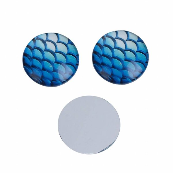 Mermaid Cabochon Blue Shine 12mm, 5 pieces