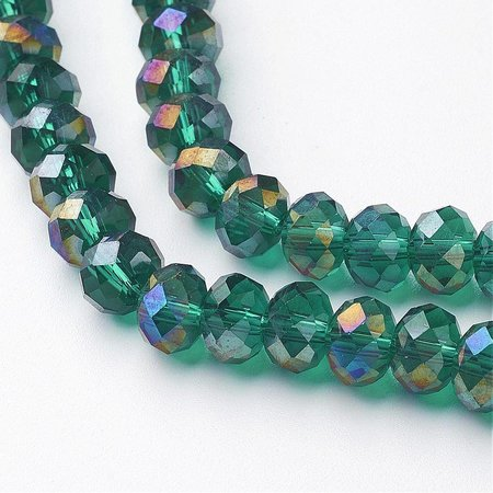 30 pieces Faceted Beads Dark Green 8x6mm