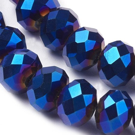 30 pieces Faceted Beads Metallic Dark Blue 8x6mm