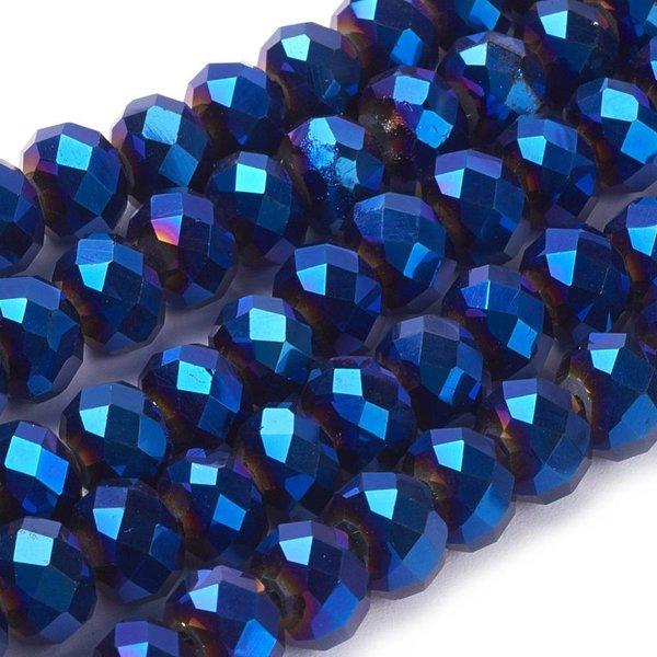 Faceted Glassbeads Metallic Dark Blue 8x6mm, 30 pieces