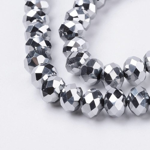 30 pieces Faceted Beads Metallic Silver 8x6mm