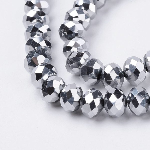 Faceted Glassbeads Metallic Silver 8x6mm, 30 pieces