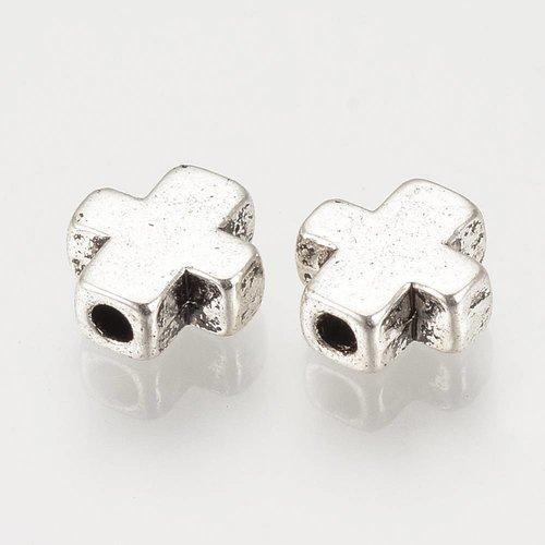 10 pieces Metal Beads Cross 9x8mm