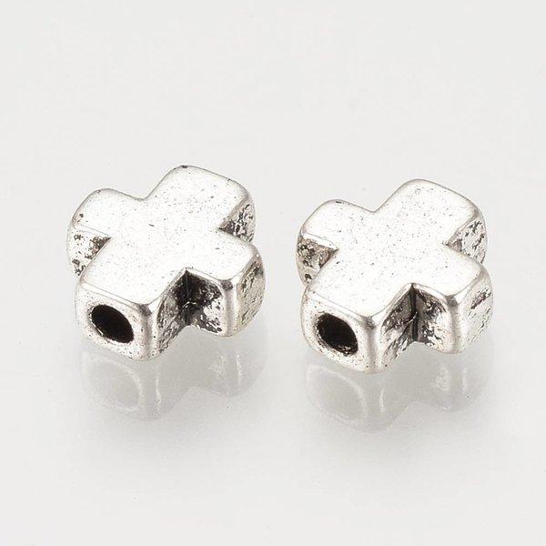 Metalen Kralen Kruisje Zilver 9x8mm, 10 stuks