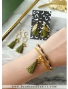Earrings And Bracelet Set - Army Green With Gold
