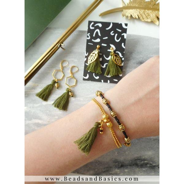 Oorbellen en Armbanden Setje - Leger Groen Met Goud