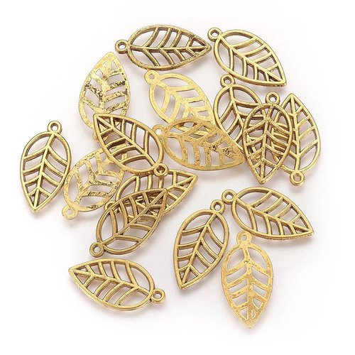 Leaf Charm Gold 23x12mm, 6 pieces
