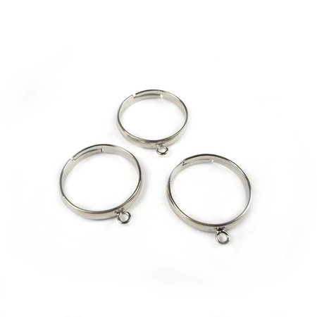 3 pieces Adjustable Ring  with Eye Nickel Free 18mm